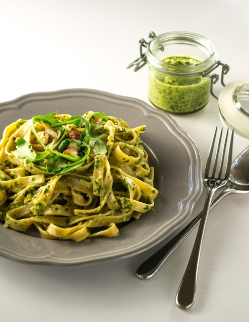Wholewheat Tagliatelle With Rocket & Hazelnut Pesto