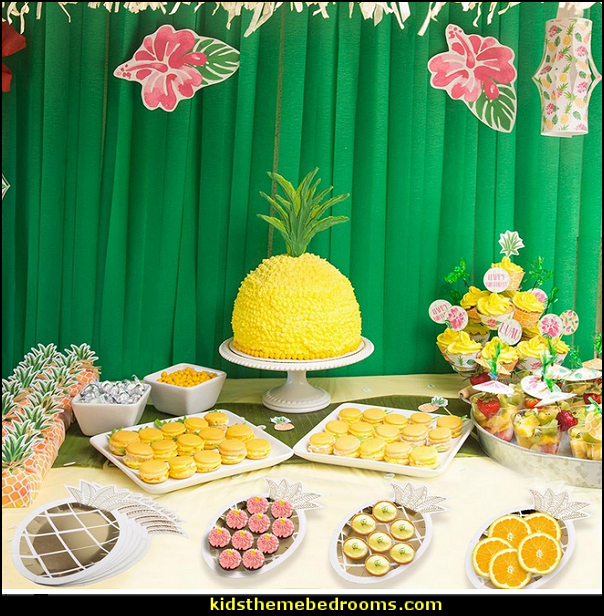 Pineapple Plates Disposable Tableware set Paper Plates for Hawaiian Luau Party Supplies