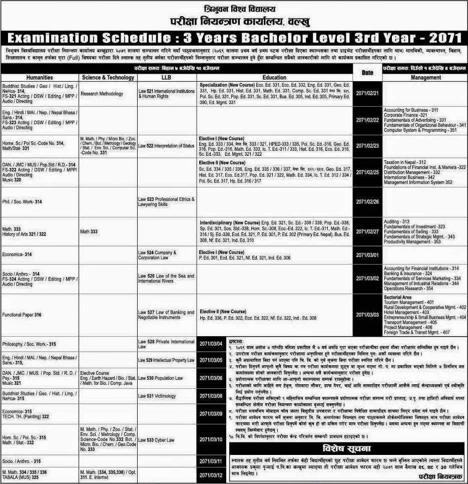 bachelor level 3rd year examination schedule 2071