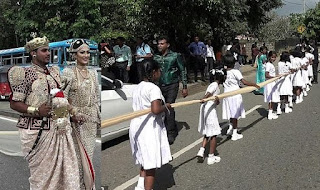 Sri Lankan couple being investigated for using 250 children to carry 2-mile long wedding dress (Photo)