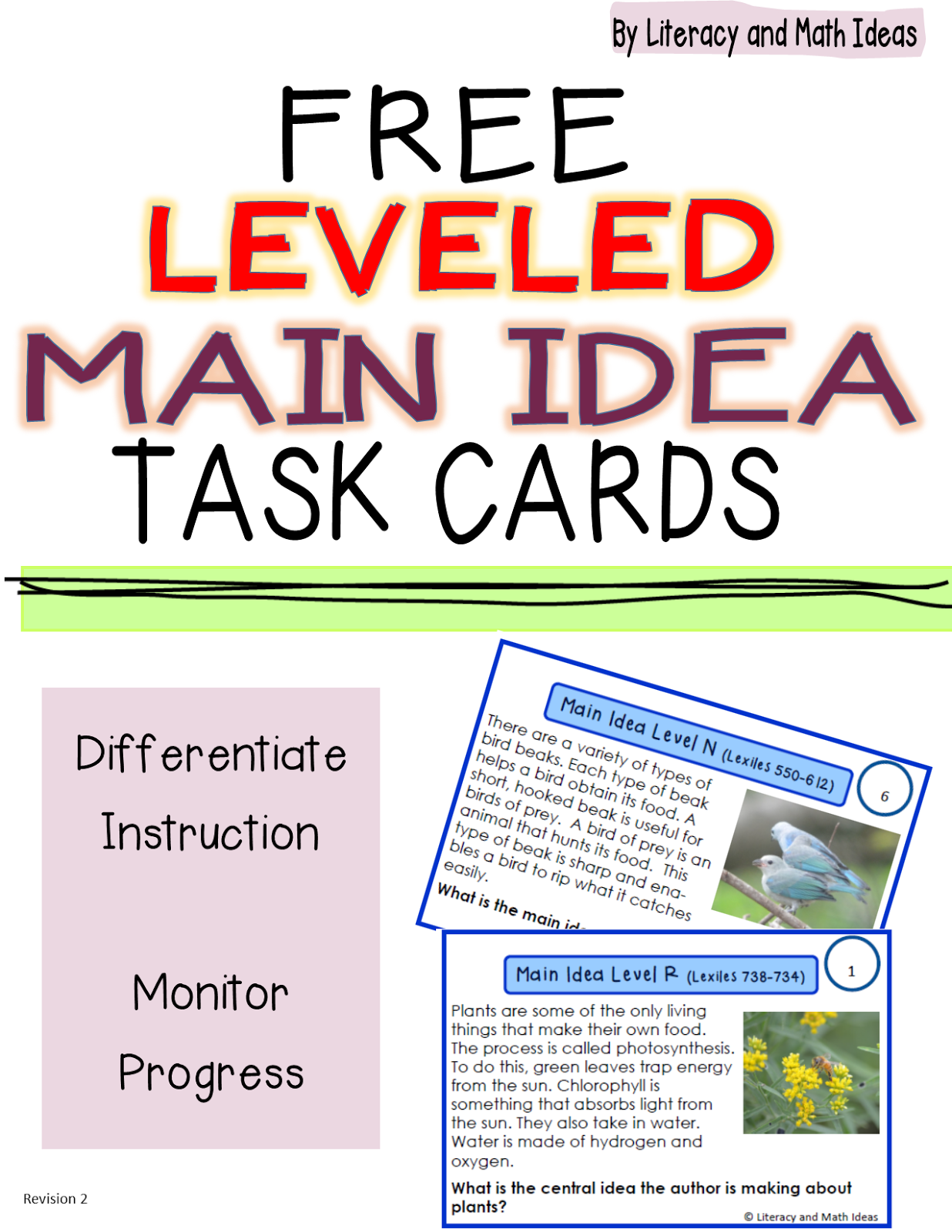 Literacy Amp Math Ideas Free Leveled Main Idea Task Cards