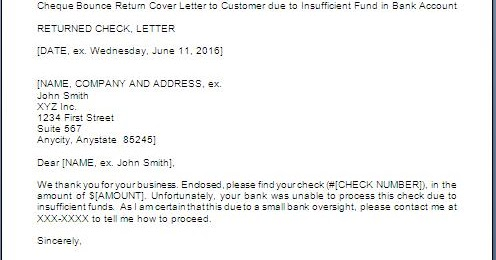 Letter For Bounced Cheque Return to Party