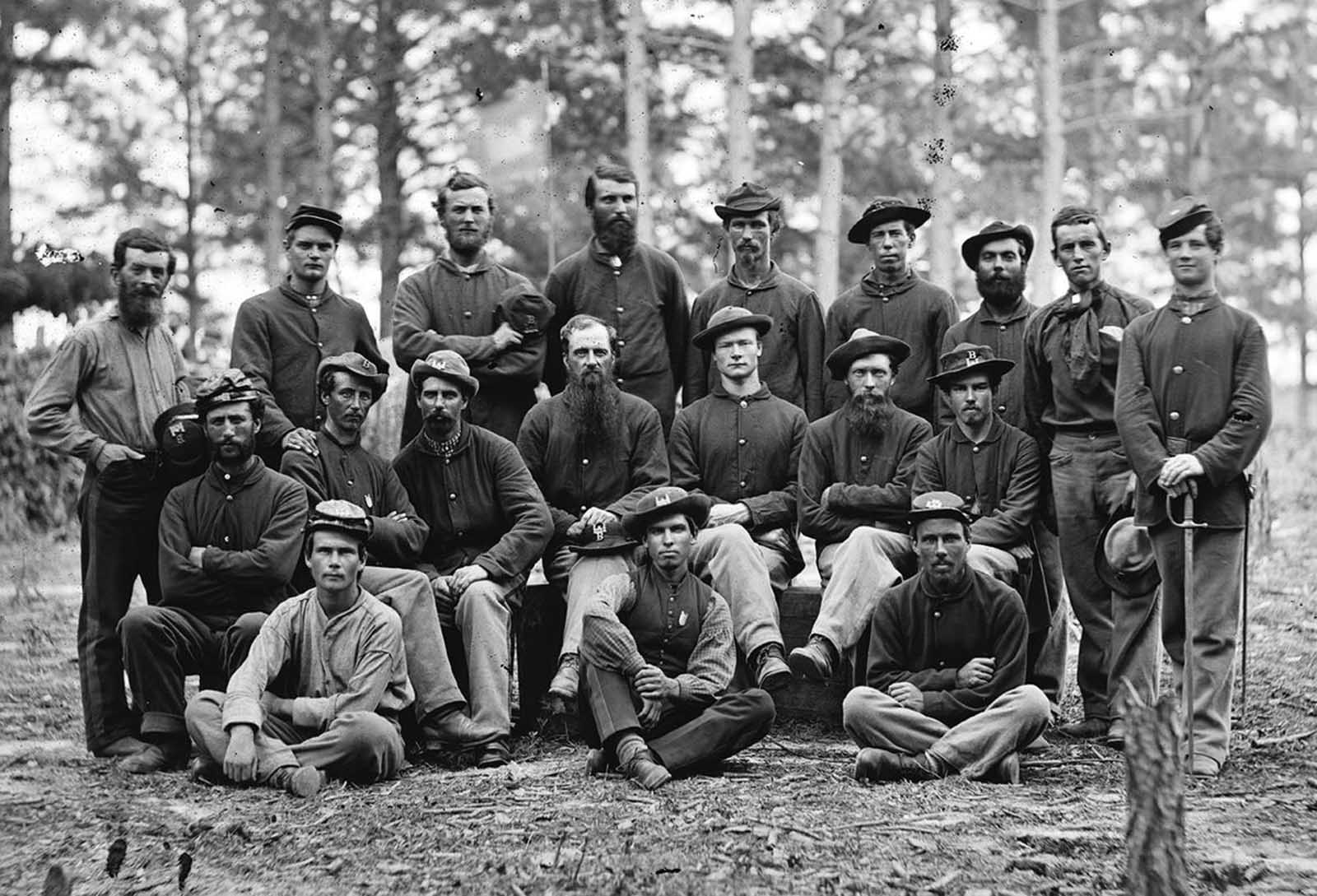 A group men from Company B, U.S. Engineer Battalion, near Petersburg, Virginia in August of 1864.