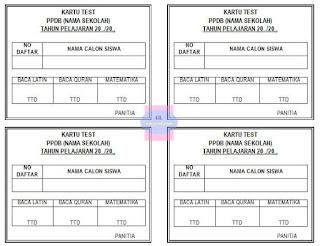 format kartu tes ppdb (untuk SD, SMP, SMA atau SMK)