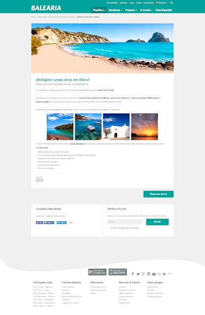 pagina del ferry Denia-Ibiza con el botón de reserva inaccesible