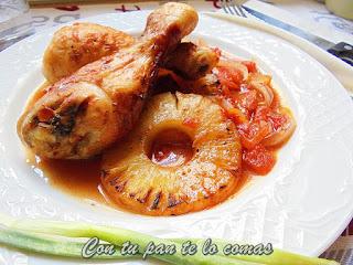 Pollo con piña al horno