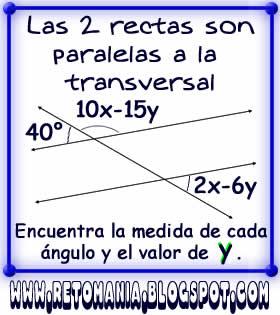 Retos matemáticos, Problemas matemáticos, Desafíos matemáticos, Jugando con números, Acertijos numéricos, Problemas de lógica, Rectas paralelas y una secante, Sistemas de Ecuaciones