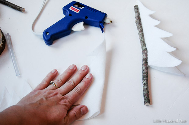 Gluing felt to twigs for rustic felt trees