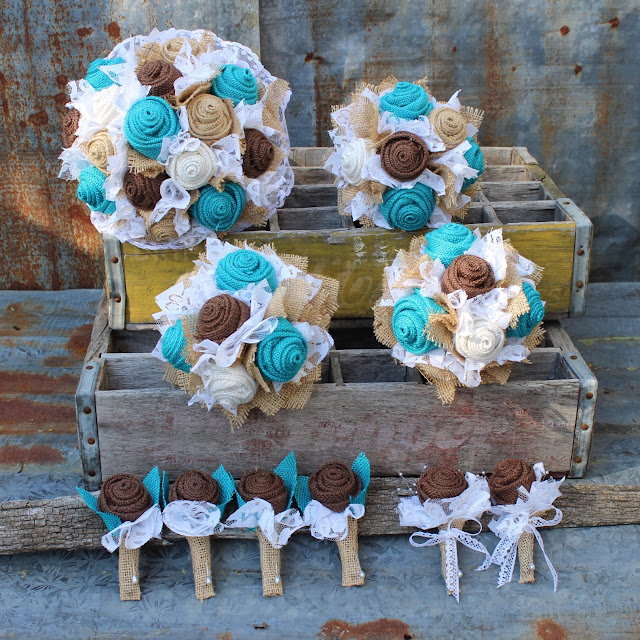 burlap and lace wedding flowers in turquoise.