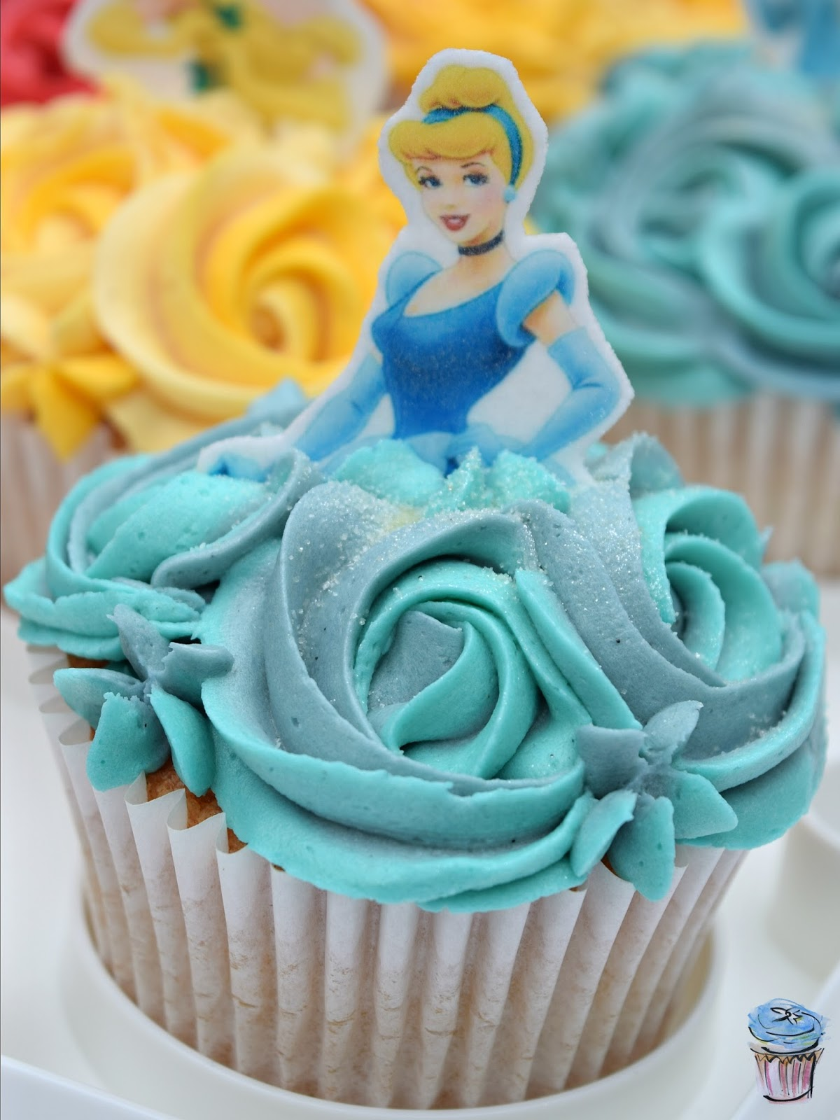 Cinderella Cupcake with Blue Buttercream