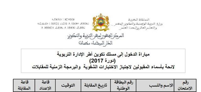نتائج الشق الكتابي من مباراة مسلك الادارة 2017 جهة الدار البيضاء سطات