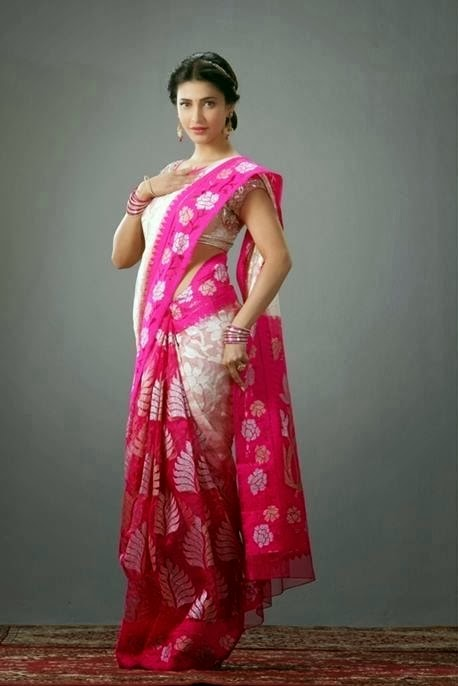Shruti Haasan looking sweet in pink sari