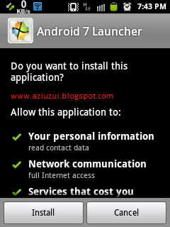 Free Download Aplikasi Tema Windows7 untuk Android