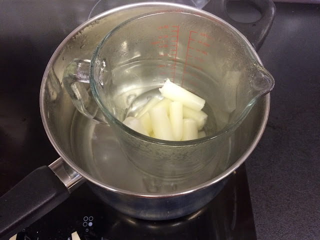 wax melting in double boiler