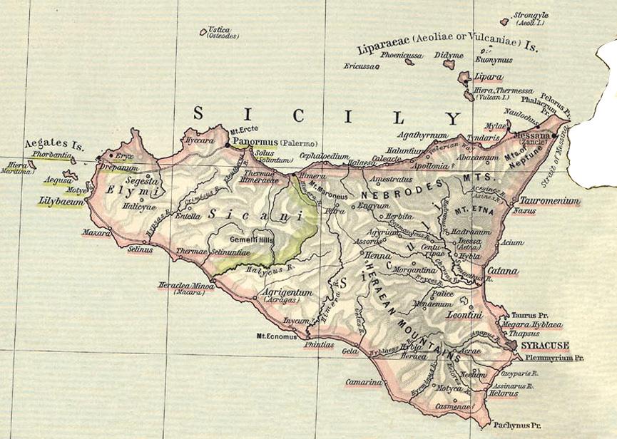 Cartina Sicilia Tindari.Sicilia Province Romane Romanoimpero Com