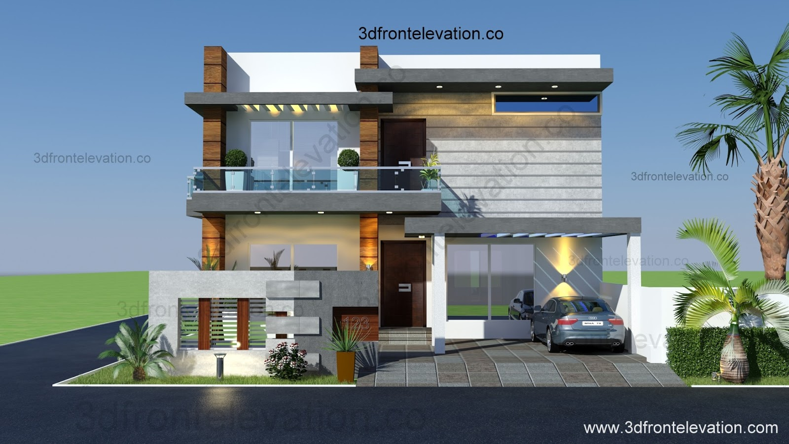 Luxury saudi arabian villa 3d front elevation house gallery for front - Marla Houses Design Islamabad With L