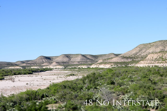 48 No Interstate back roads cross country coast-to-coast road trip dry riverbed west Texas