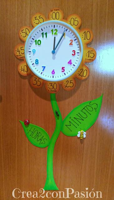 Foto completa-diy-reloj-primaveral-para-aprender-las-horas-Crea2conPasión-en-goma-eva-sharpies-y-pasta-modelar