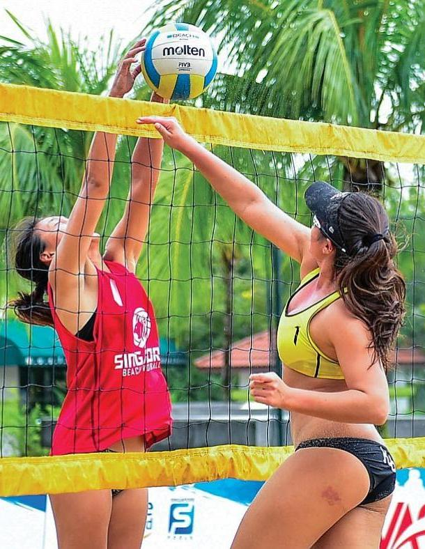 At the Beach Courts for Volleyball Association of Singapore Higher Education Beach Volleyball, which brings together volleyball enthusiasts from universities, junior colleges, polytechnics and Institutes of Technical Education.