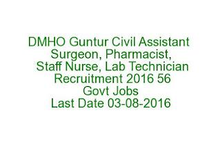 DMHO Guntur Civil Assistant Surgeon, Pharmacist, Staff Nurse, Lab Technician Recruitment 2016 56 Govt Jobs Last Date 03-08-2016