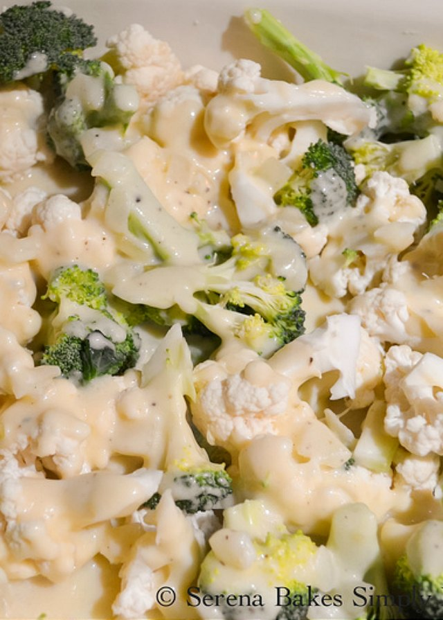 Cheesy Broccoli Casserole with Cauliflower covered in homemade cheese sauce recipe from Serena Bakes Simply From Scratch.