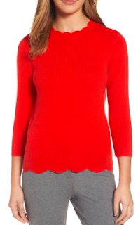 Halogen Scallop Edge Sweater in Red Fiery