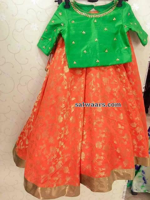 Orange Crop Top with Kundans