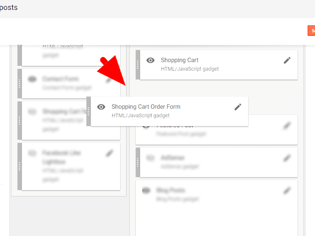 Add Blogger shopping cart order form widget on blogspot blog template