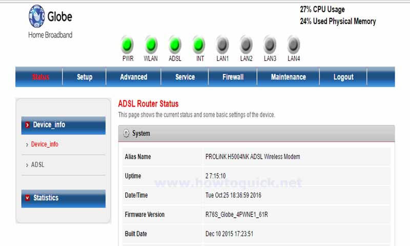 How to Change Globe Broadband Prolink H5004NK WiFi Password