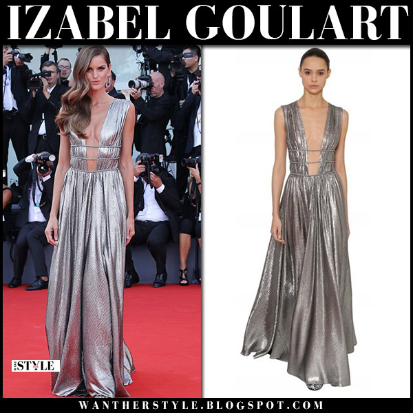 Izabel Goulart in silver metallic plunging silk gown alberta ferretti red carpet venice 2018