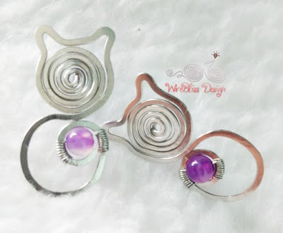 wire wrapped cat earrings with Amethyst