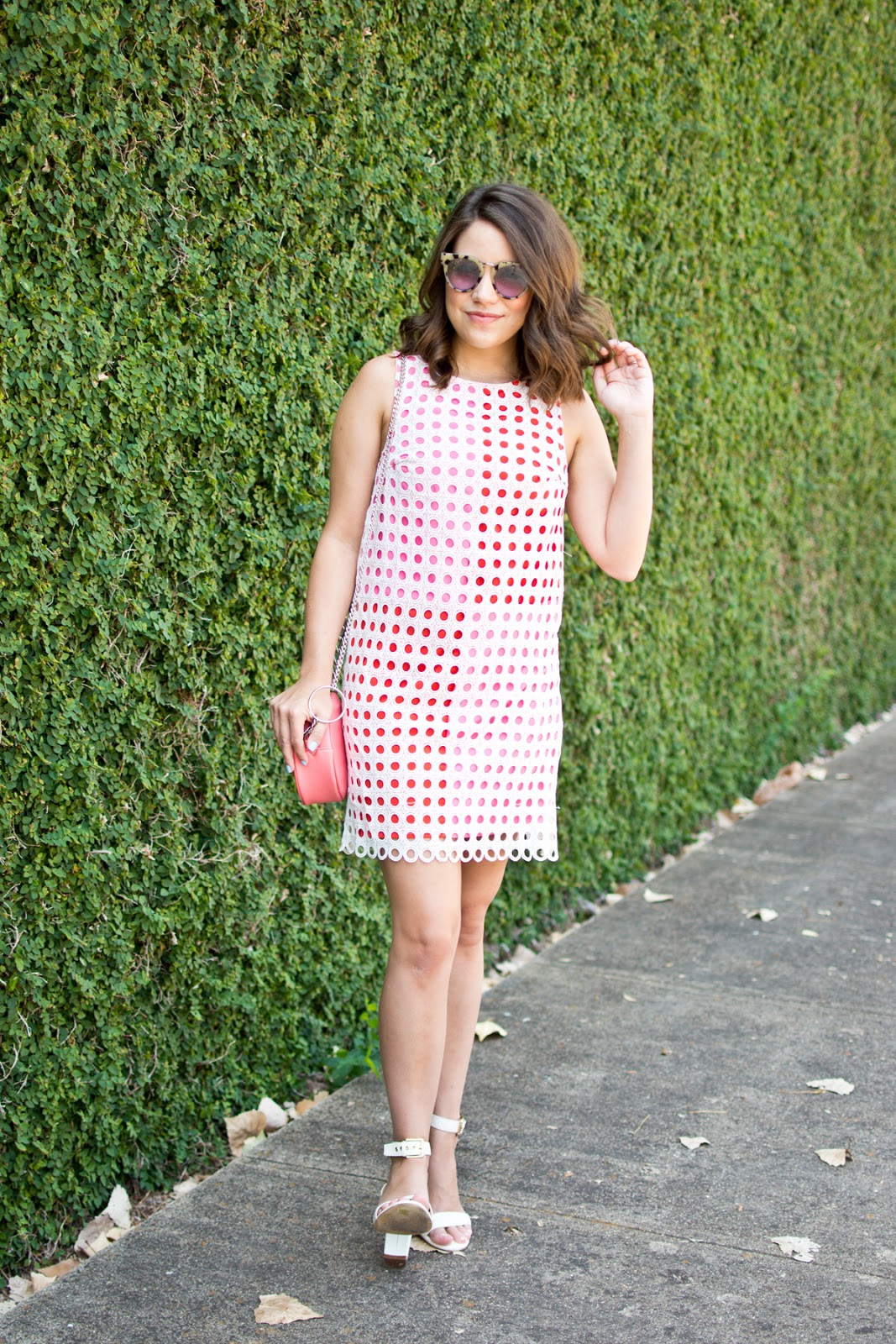 retro shift dress modcloth, geometric pink bag, tortoiseshell sunglasses, white block heels