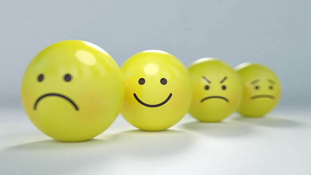 Smiley faces with different facial expressions