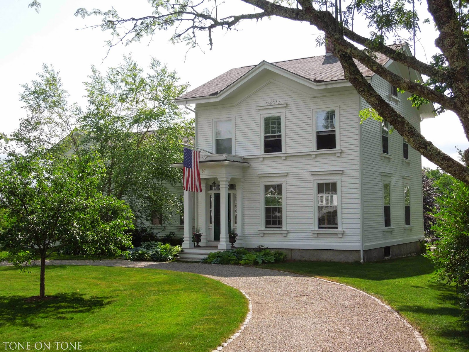 Beautiful White Colonial House in Castine Maine from Tone on Tone | Friday Favorites at www.andersonandgrant.com