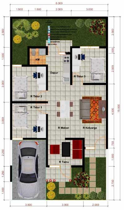 denah rumah 3 kamar memanjang ke belakang