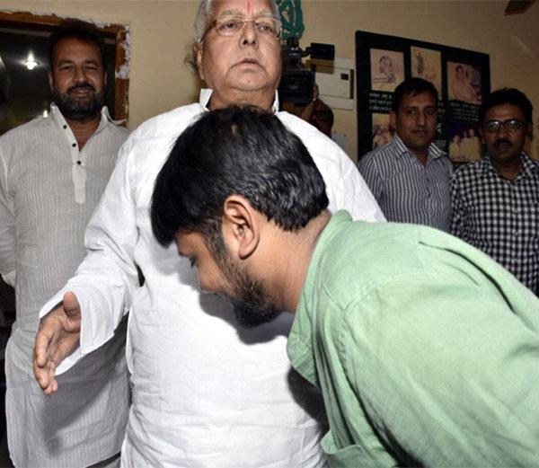 Kanhaiya Kumar with Laloo Yadav