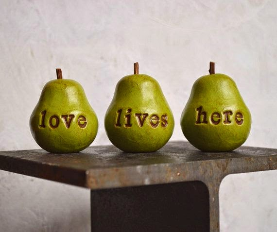 "polymer clay pears ""love lives here"" engraving, Etsy"