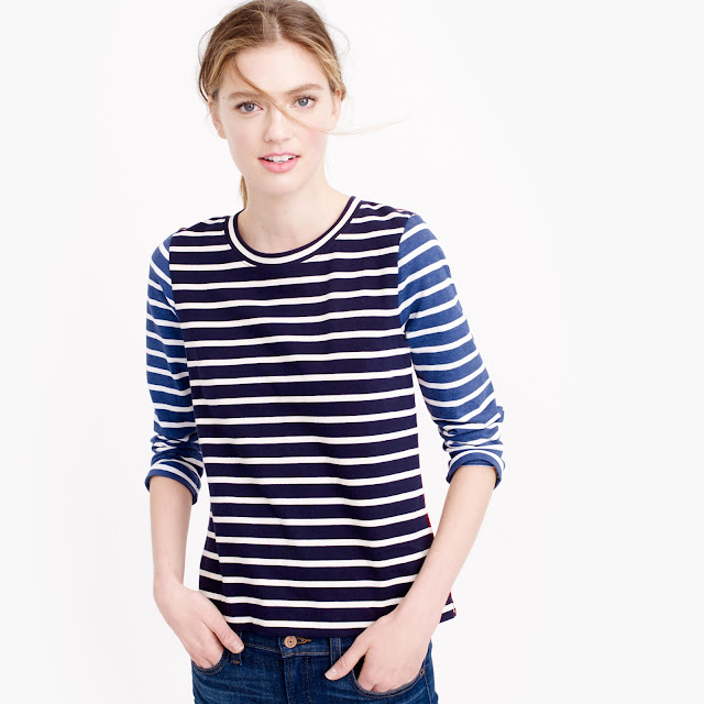 mixed stripe t shirt j crew on sale fashion after 40 blogger