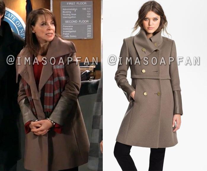 Liesl Obrecht, Kathleen Gati, Brown Wool Coat with Leather Cuffs, General Hospital, GH