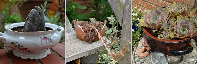Gartendeko: bepflanzte Küchensachen