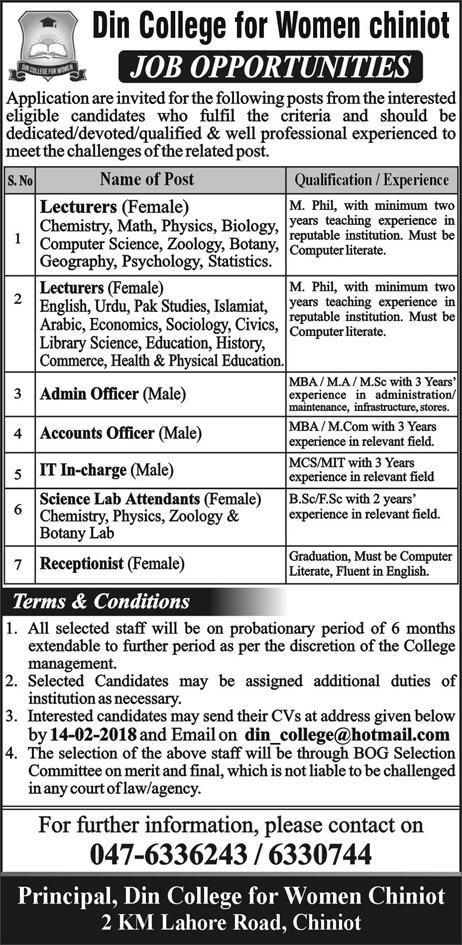 New Jobs in Din College for Women Chiniot Apply vie Email