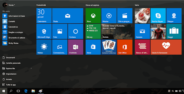 Menu Start Windows 10 come Schermata Start Windows 8
