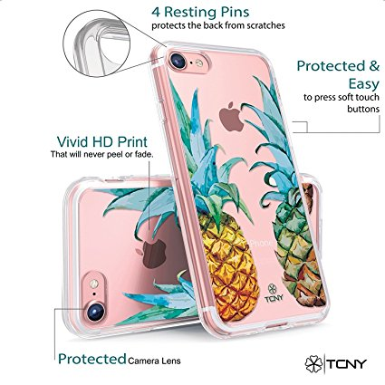 iPhone 8 Pineapples Case - True Colour Clear-Shield Tropical WaterColour Pineapples Printed on Clear Back - Perfect Soft and Hard Thin Shock Absorbing Dustproof Full Protection Bumper Cover