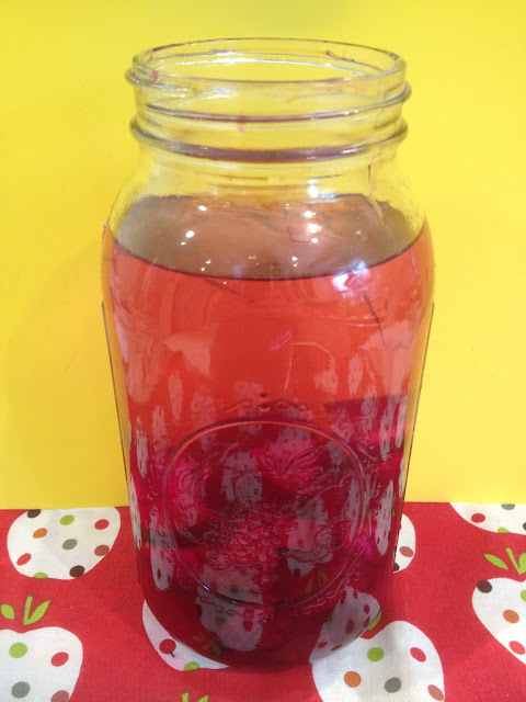 Chopped red beets in a mason jar