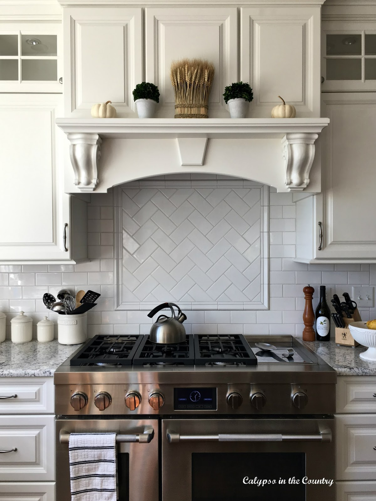 Stove and Stove Hood - Decorated with white pumpkins for fall