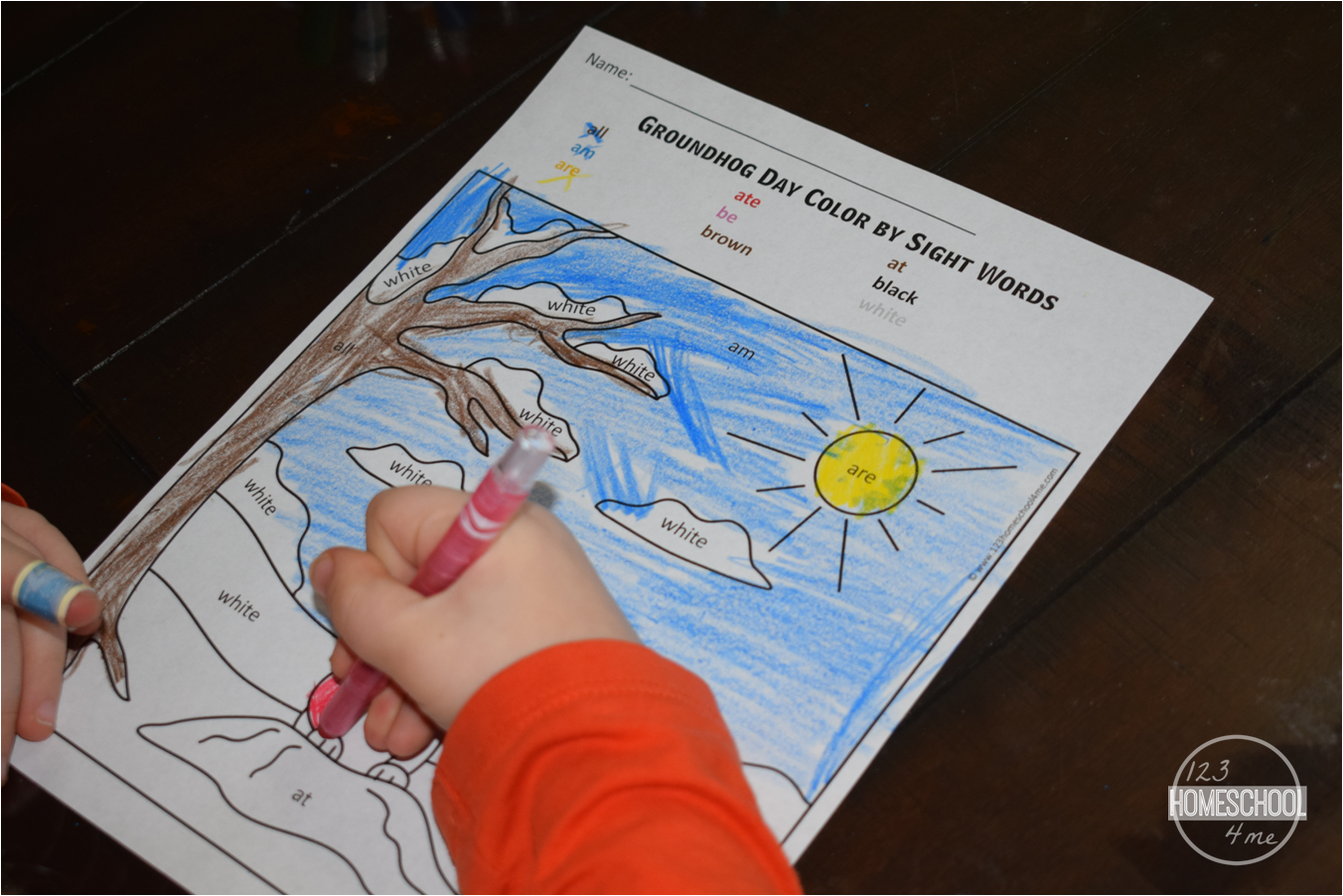 Free Groundhog Day Color By Sight Word