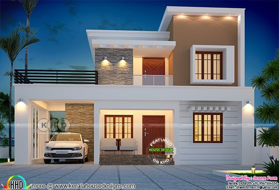 1790 square feet beautiful modern flat roof home plan