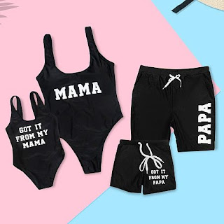 Solid Color Letter Pattern Family Matching Beachwear