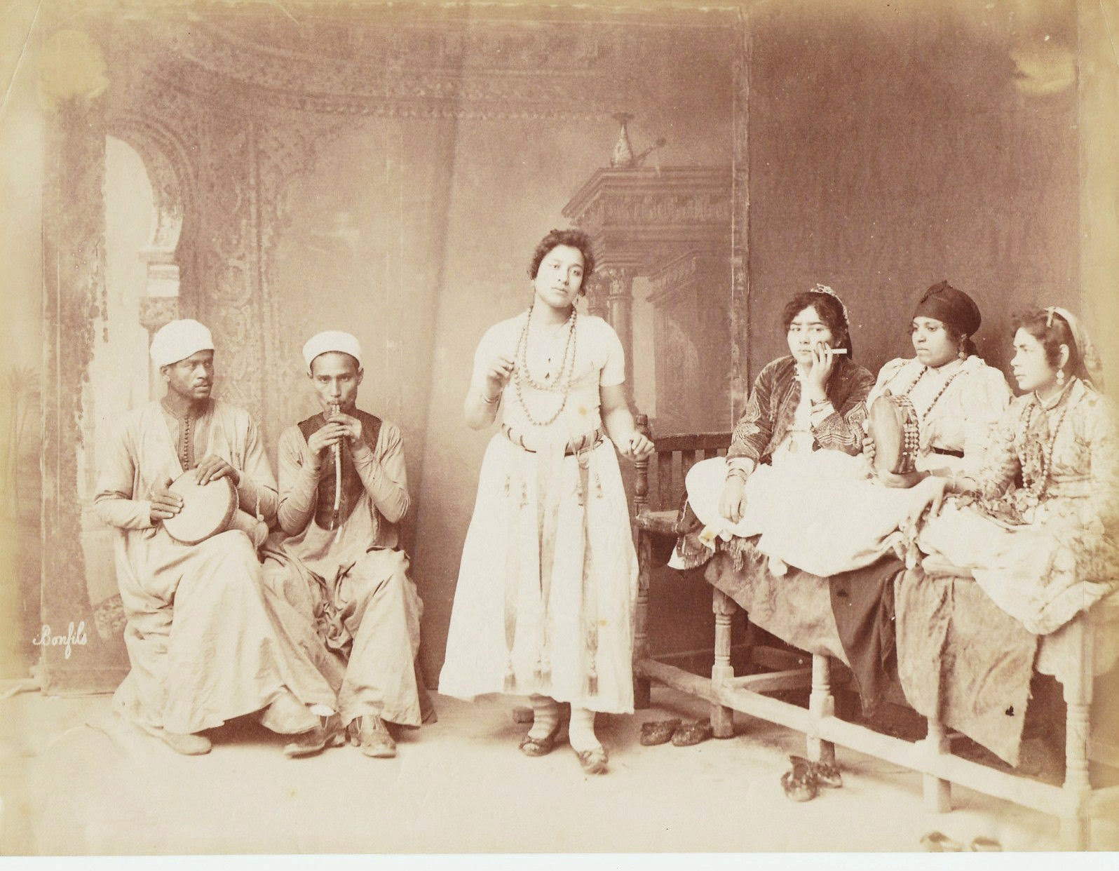 Arab Dancing Woman with Musicians - Egypt c1875