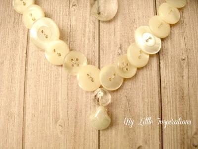Ghirlanda cuore di bottoni e goccia di cristallo - punta cuore - My Little Inspirations